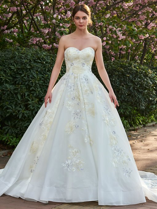 Strapless Embroidery Appliques Ball Gown Wedding Dress