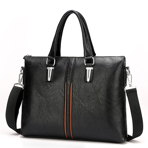 Solid Color PU Business Men's Handbag