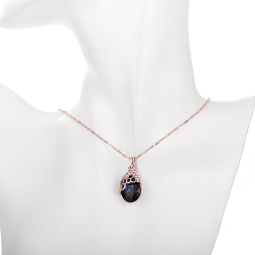 Water Drop Shaped Sapphire Pendant Necklace
