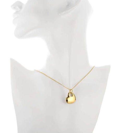 Gold Plated Heart-Shaped Hollow Necklace