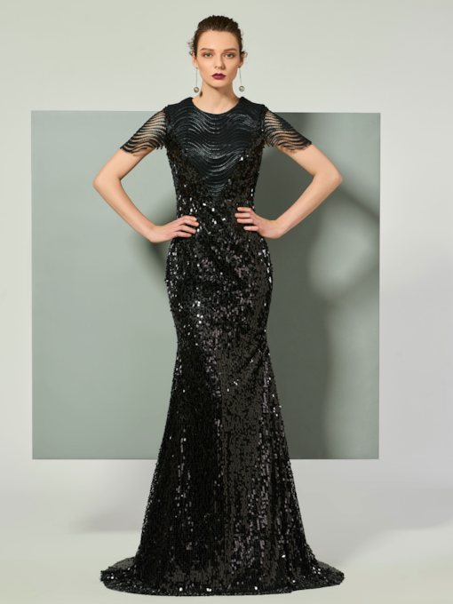 Mermaid Scoop Cap Sleeves Lace Sequins Brush Train Evening Dress