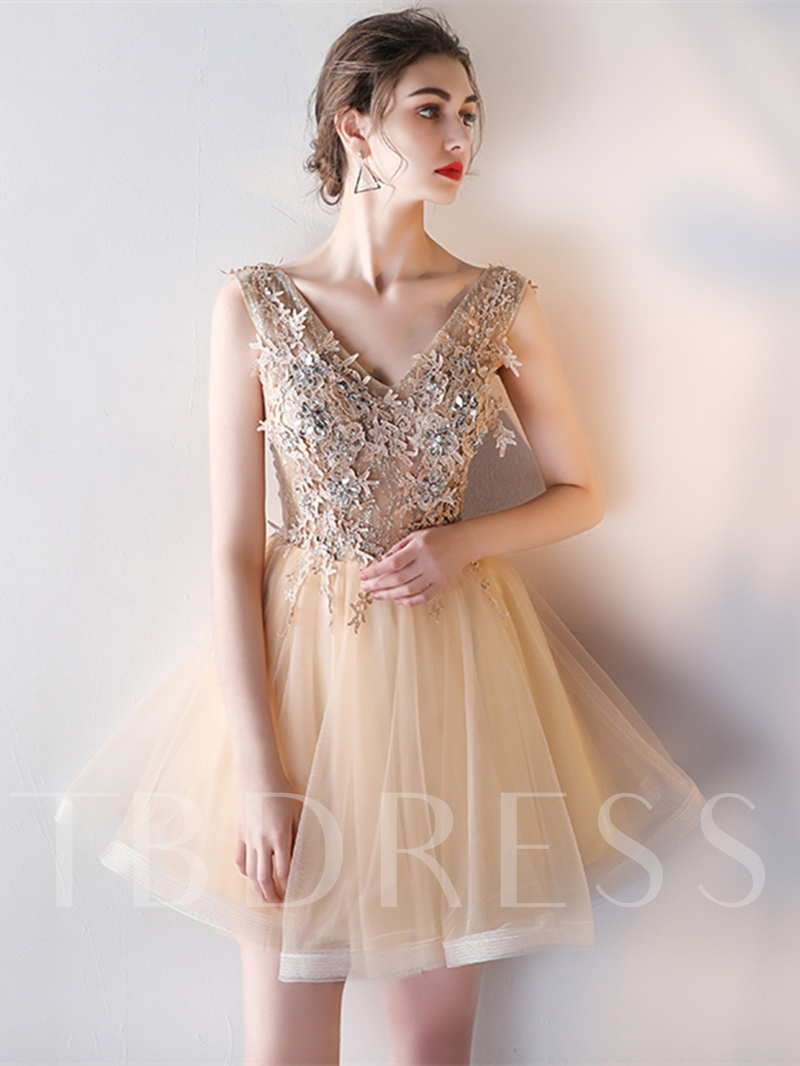Image of A-Line Appliques V-Neck Beading Pearls Mini Homecoming Dress