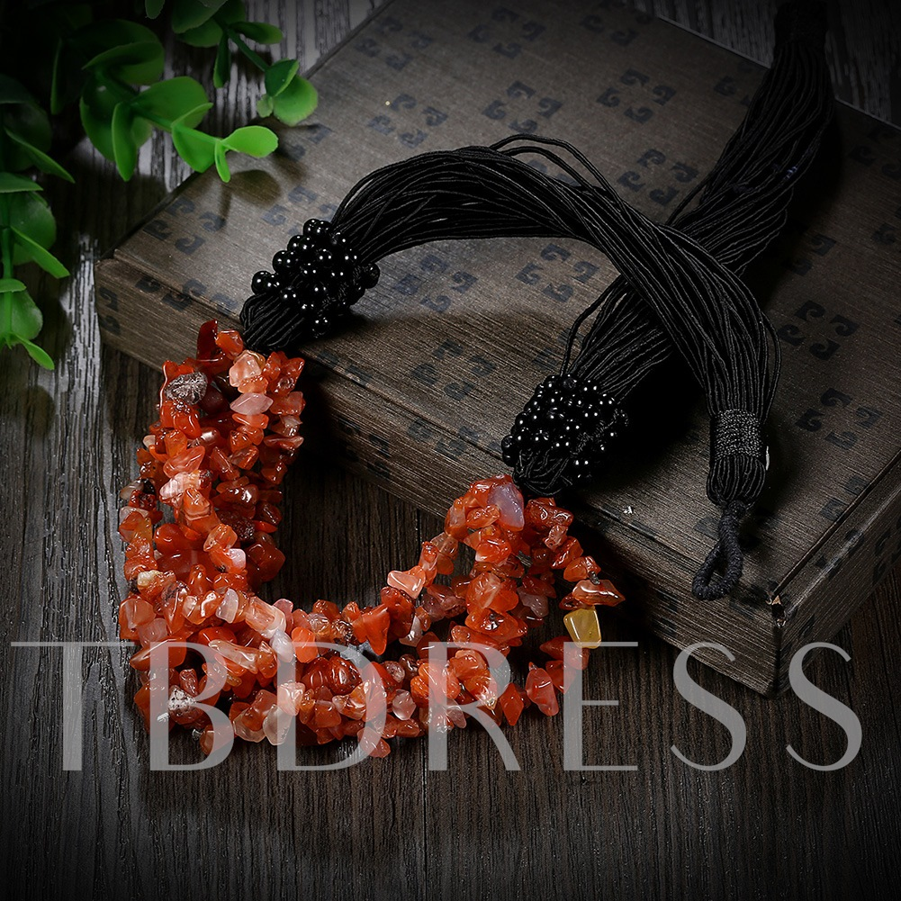 Multilayer Chic Red Stone Women's Necklace