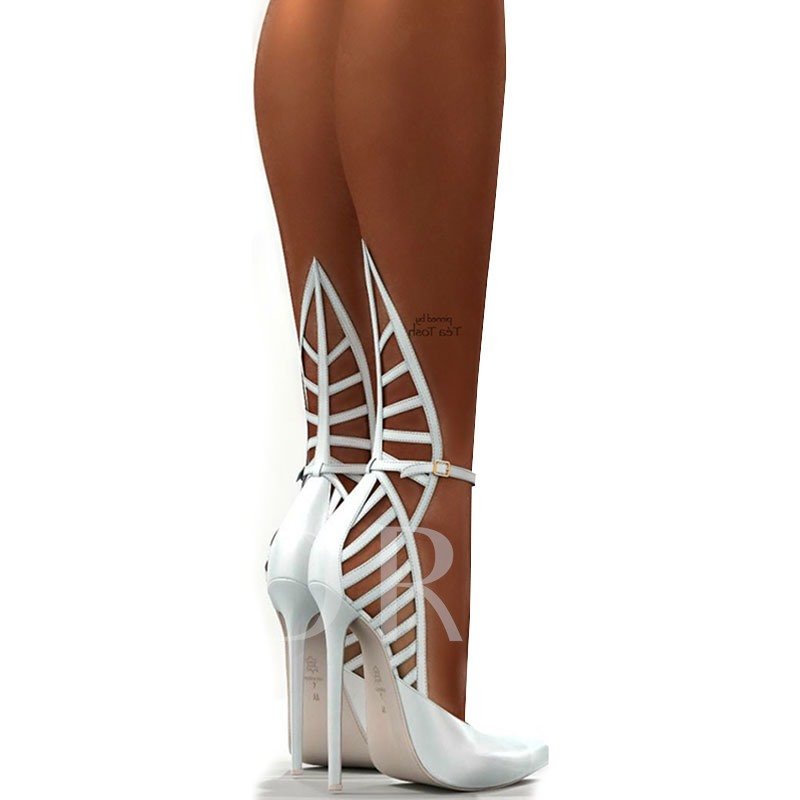 Hollow White High-Cut Upper Stiletto Heel Pumps