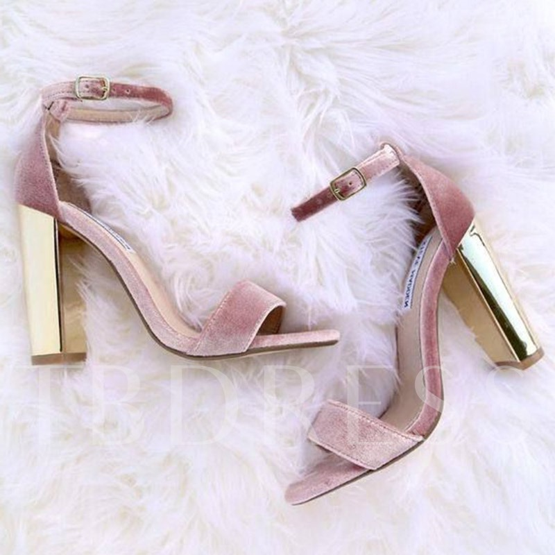 Buy Peep Toe Chunky Heel Pink Sandals, Spring,Summer, 12833433 for $50.99 in TBDress store
