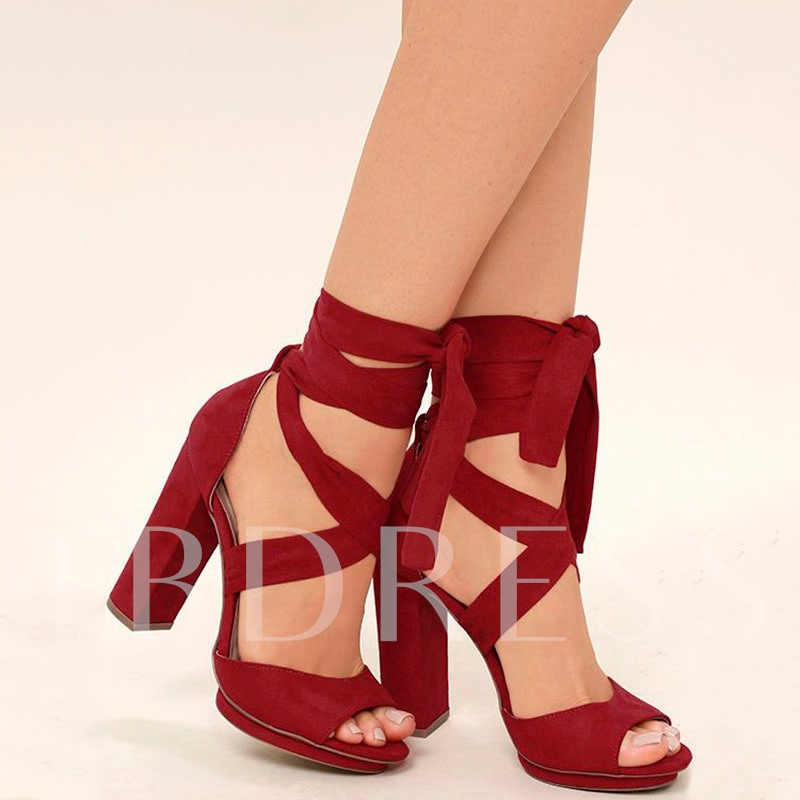 Cross Strap Chunky Heel Women's Sandals