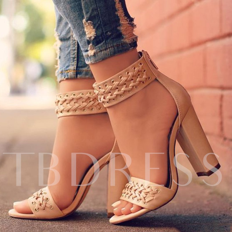 Buy Apricot Peep Toe Chunky Heel Sandals, Spring,Summer, 12833436 for $53.99 in TBDress store