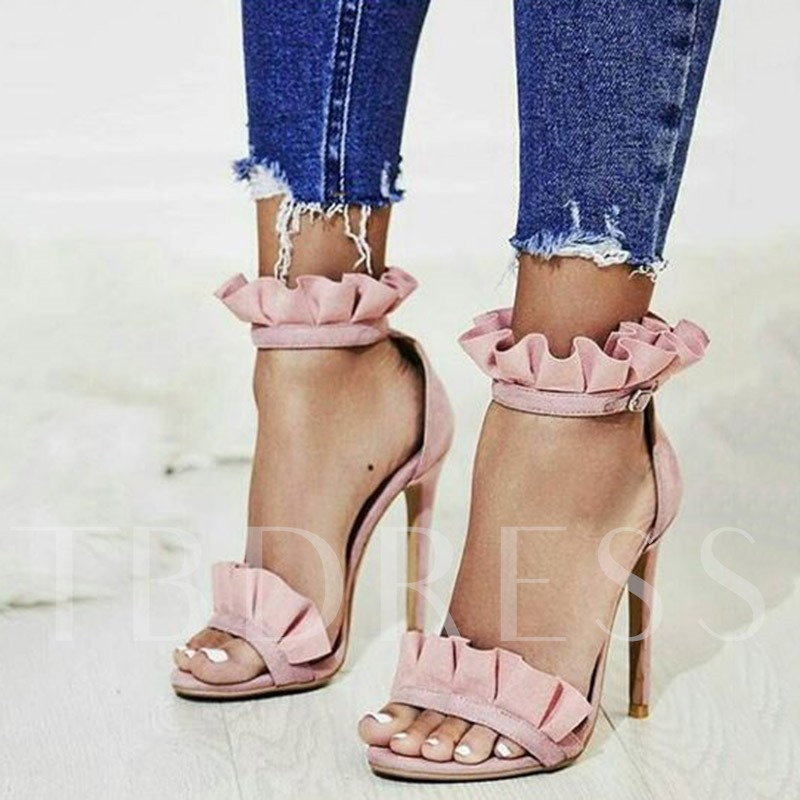 Open Toe High Cut Stiletto Heel Sandals