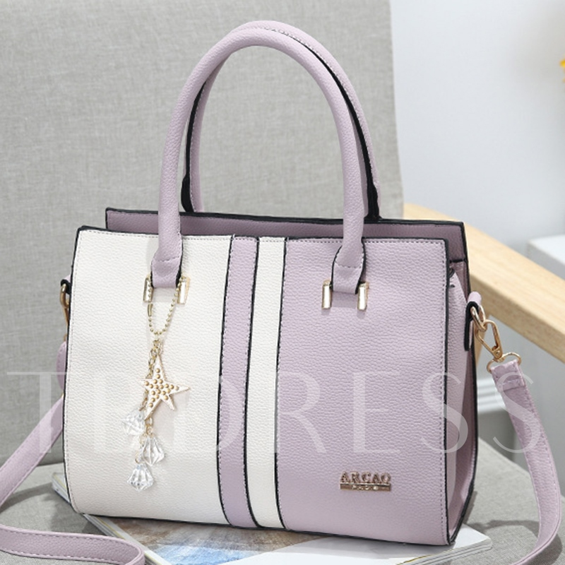Trendy Color Block PU Women's Tote Bag