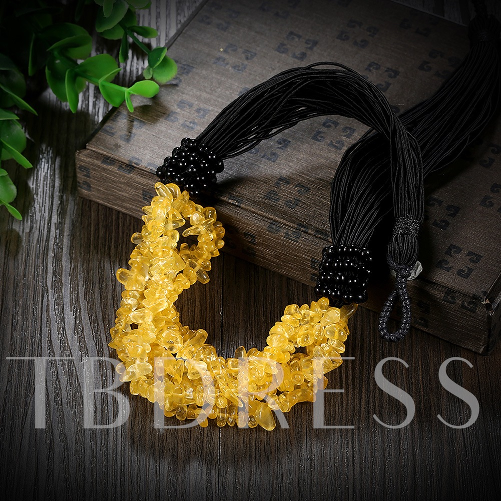 Creative Yellow Stones Pendant Necklace