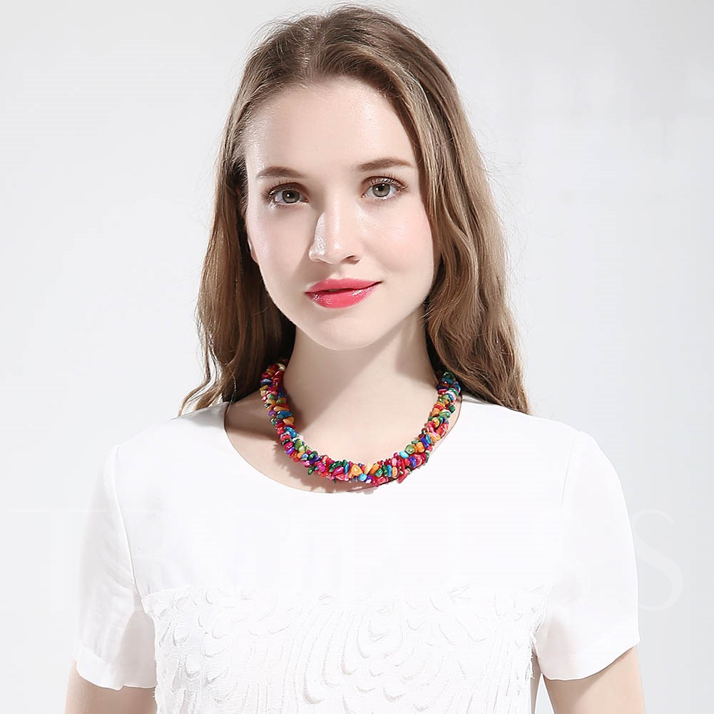 Bohemian Colorful Stone Short Necklace