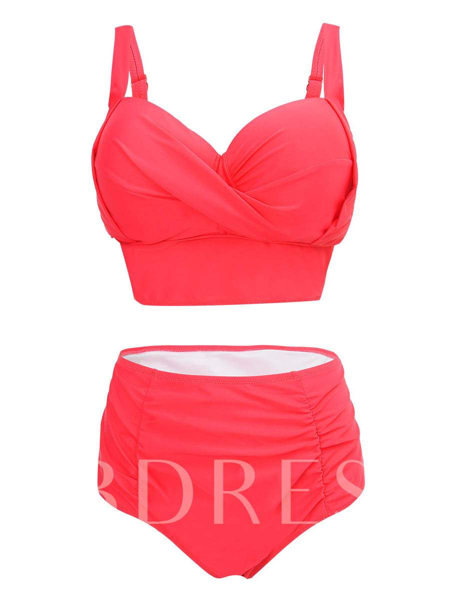 Plain High-Waist Pleated Plus Size Bikini Set