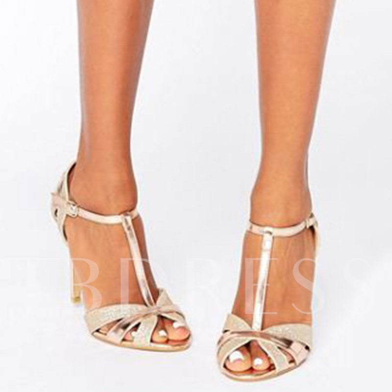 Buy T-Shaped Buckle Peep Toe Stiletto Heel Sandals, Spring,Summer, 12833115 for $49.99 in TBDress store