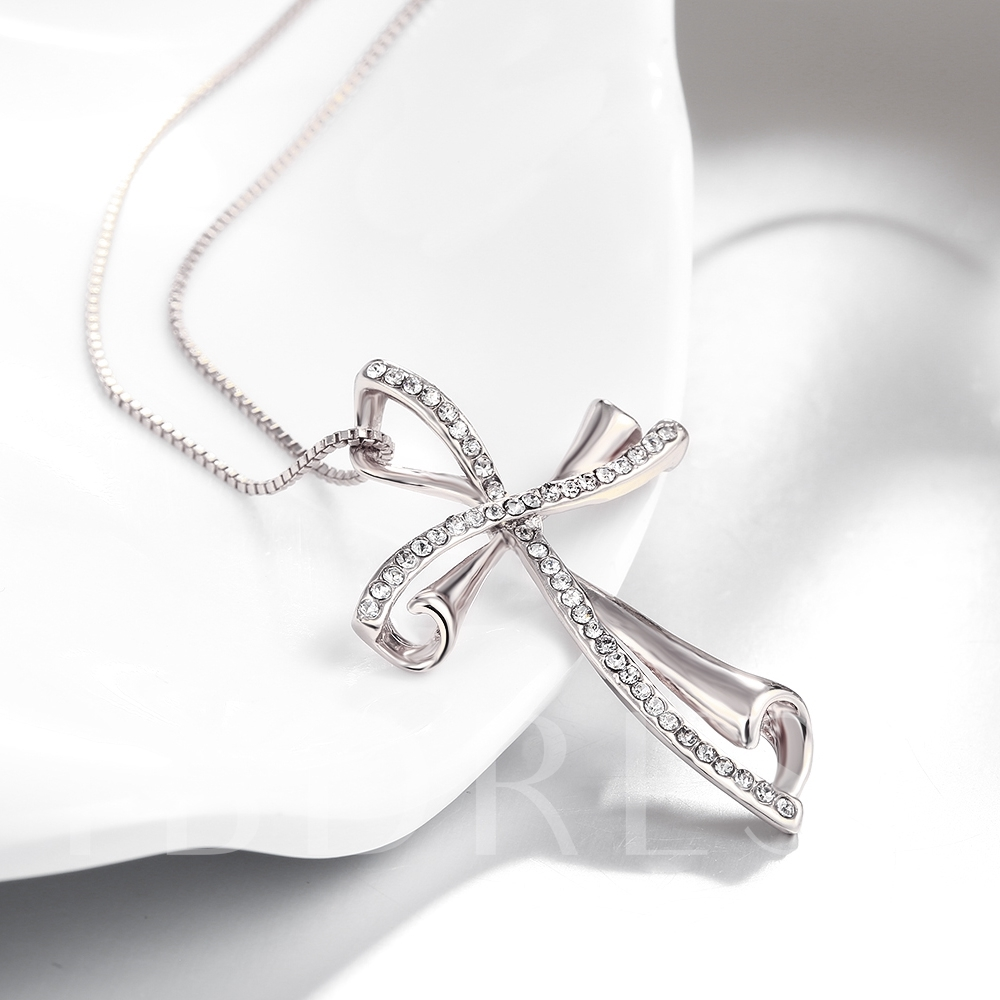 Double Cross Design K Gold Necklace for Women