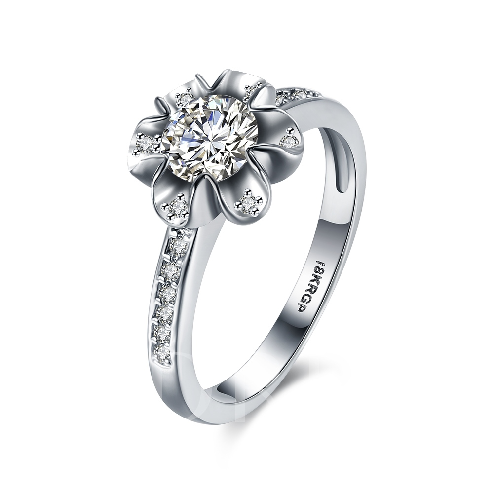 Romantic Flower Design Zircon Inlaid Ring
