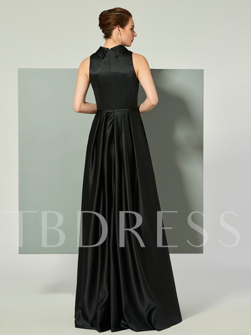 A-Line Bowknot Sleeveless Jewel Floor-Length Evening Dress