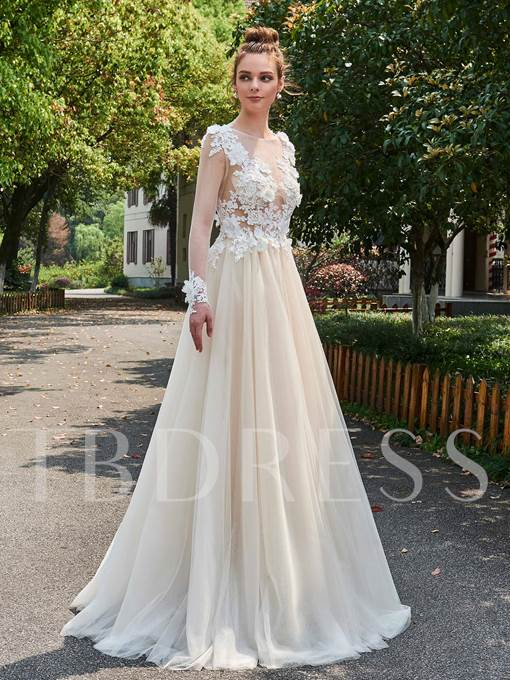 A-Line Flowers Appliques Long Sleeves Wedding Dress