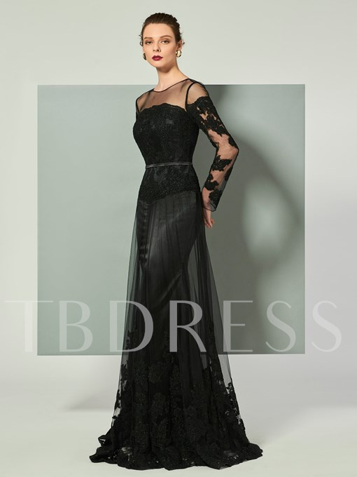 Beaded A-Line Appliques Scoop Court Train Evening Dress