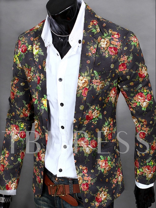 Notched Collar Floral Printed One Button Vogue Casual Men's Blazer