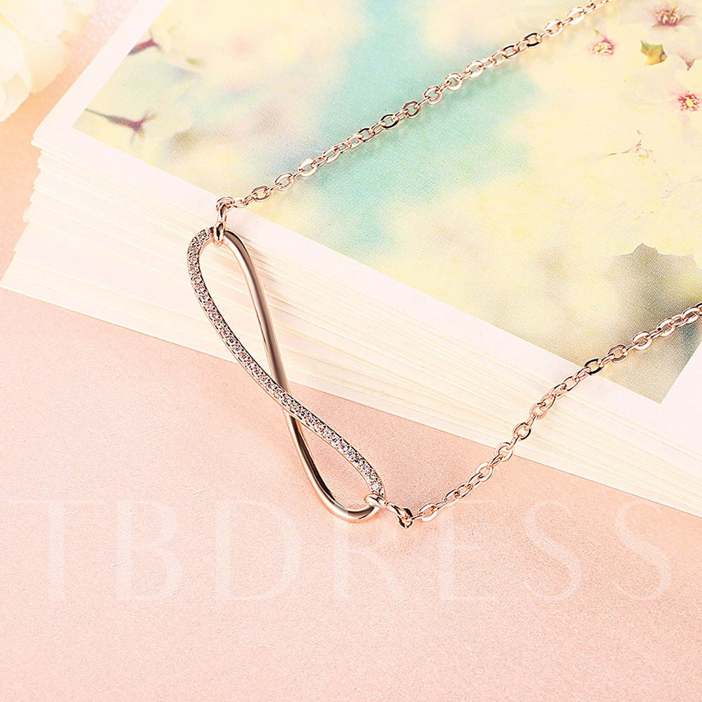 Eight-Shaped Diamante Simple Rose Gold Necklace