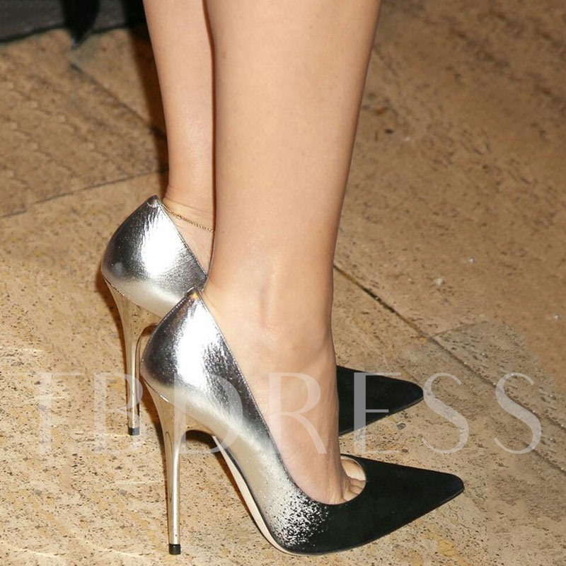 Color Block Contrasted Toe Pointed Women's Pumps
