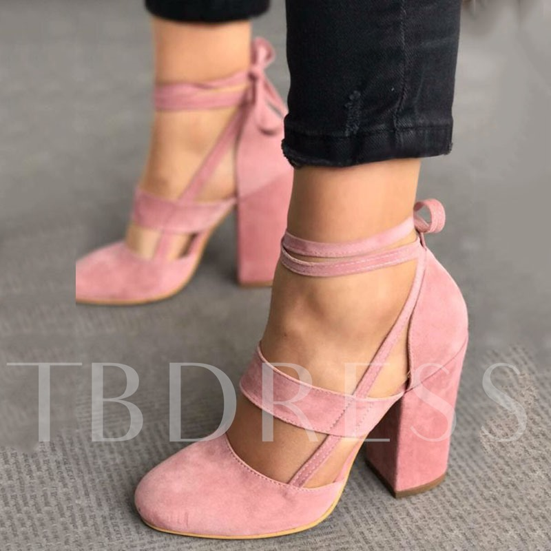 Pink Lace-Up Round Toe Women's Pumps