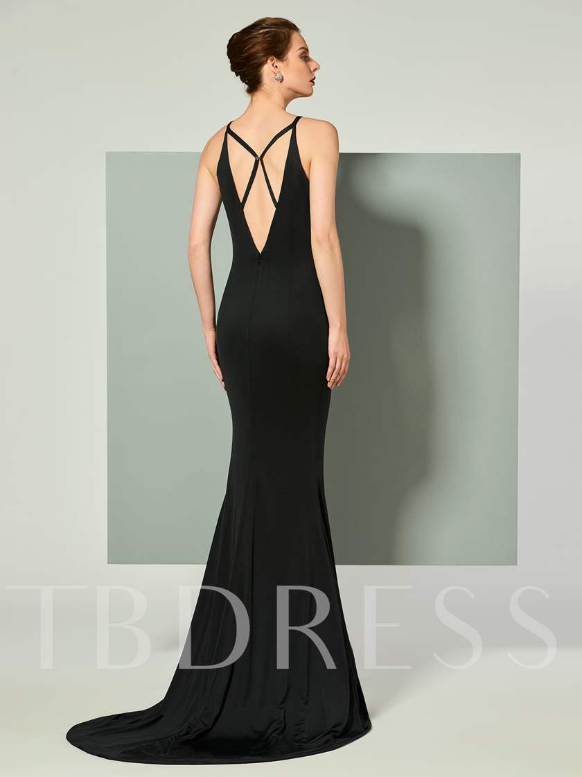Mermaid Straps Sleeveless Hollow Court Train Evening Dress