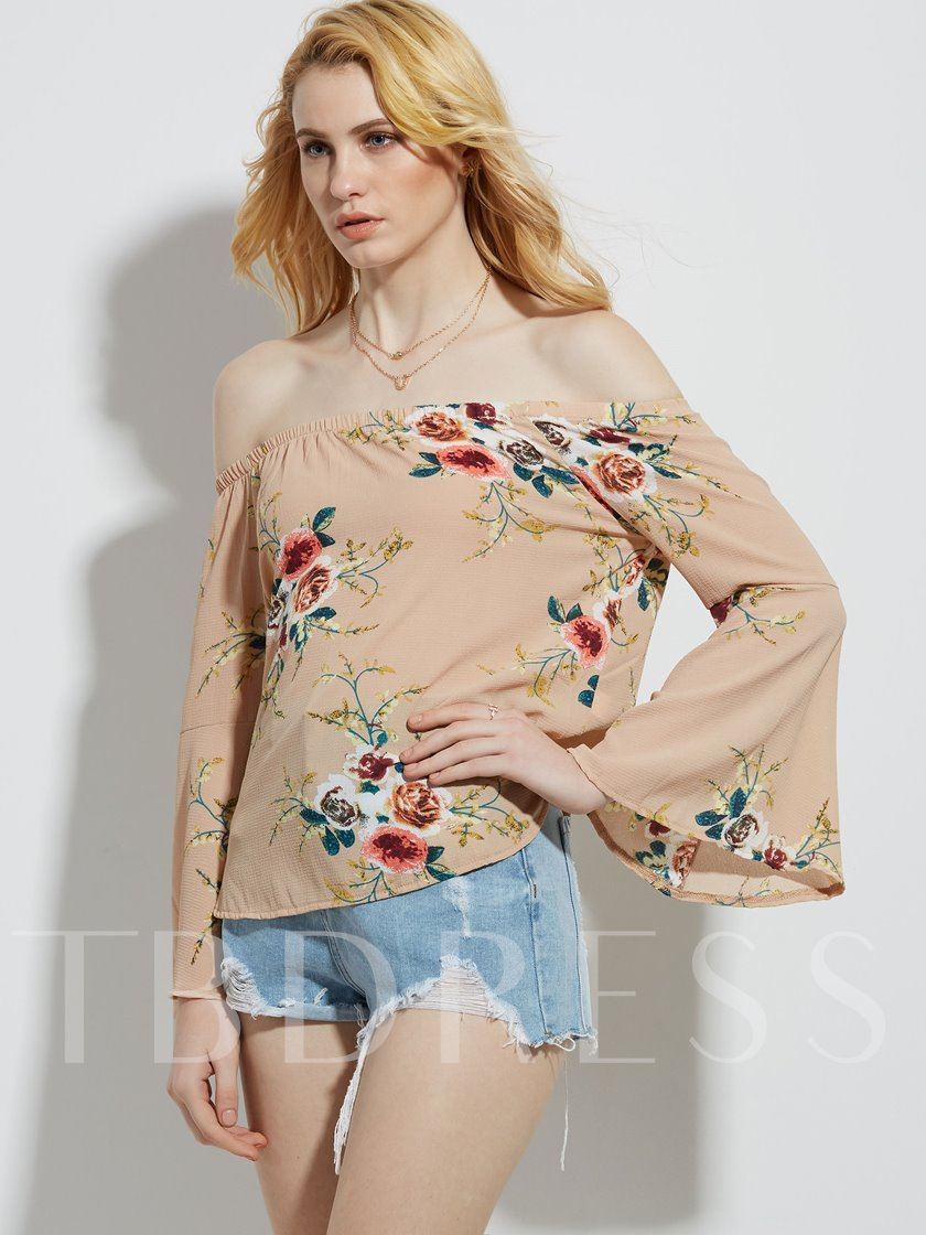 Slash Neck Flower Print Women's Vacation Blouse