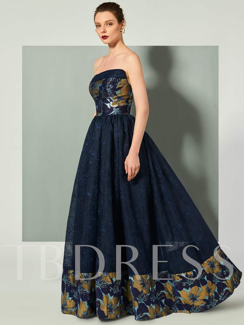 Strapless A-Line Finished Fabric Floor-Length Evening Dress