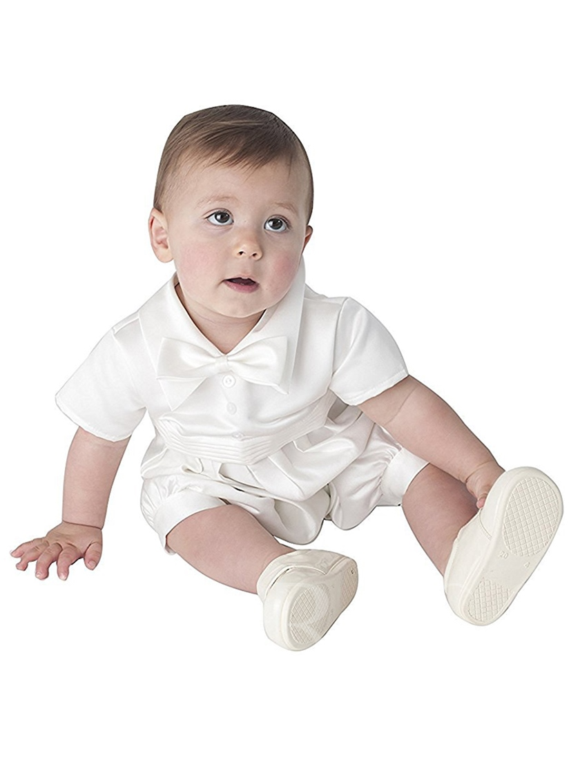Bowknot Baby Boys Christening Gowns Baptism Suits
