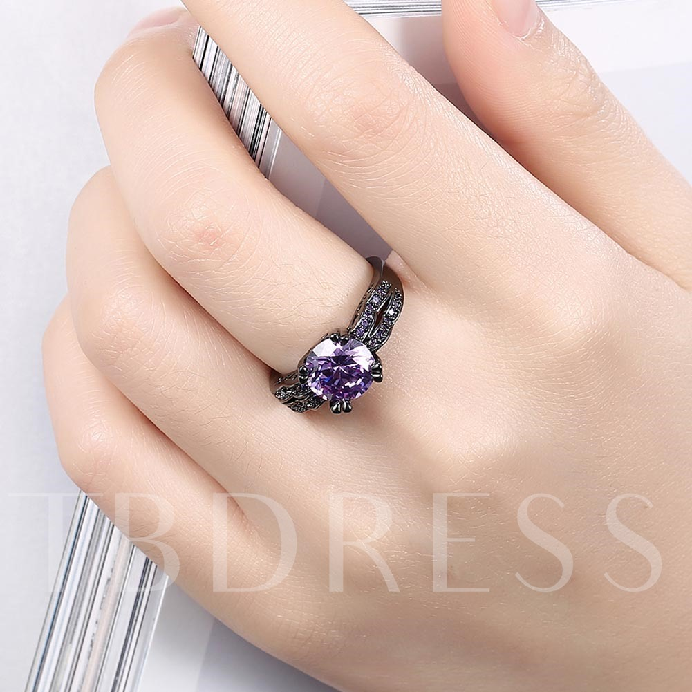 Double Row Round Cut Black Zircon Ring
