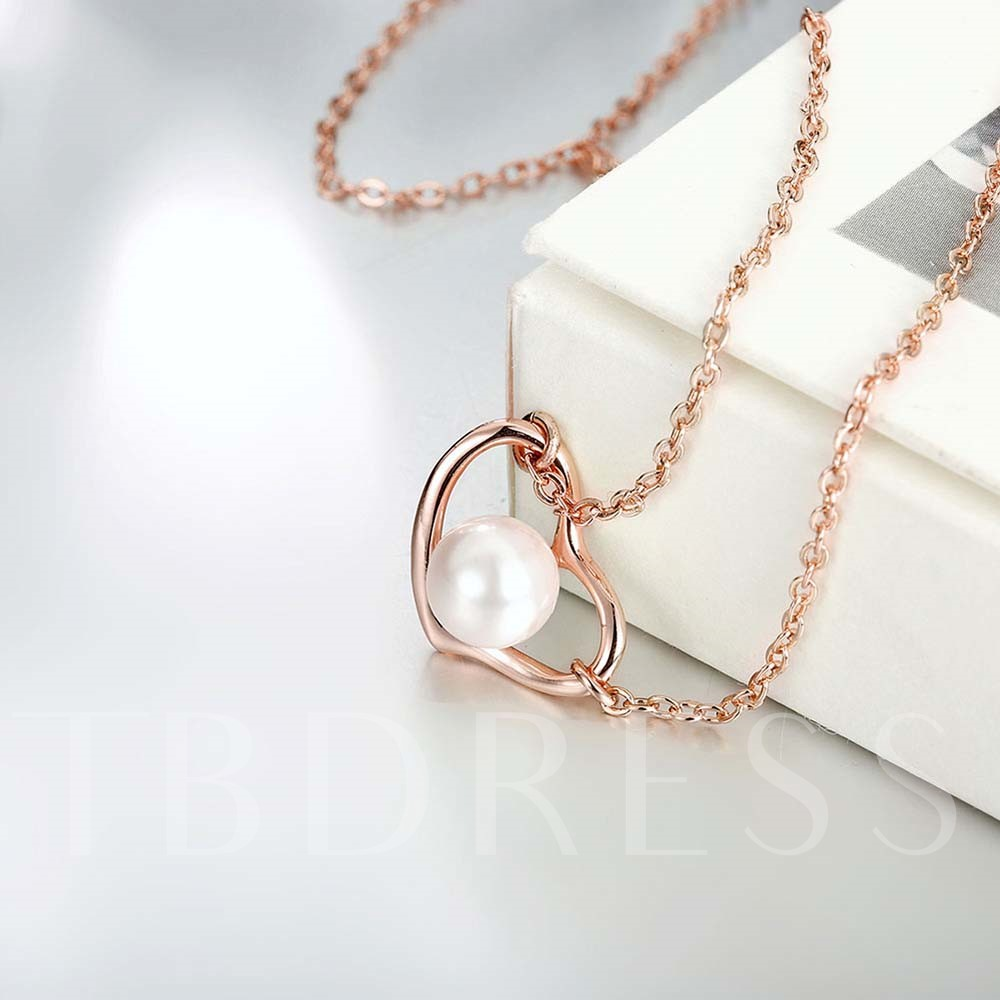 Sweetheart with Pearl Rose Gold Necklace