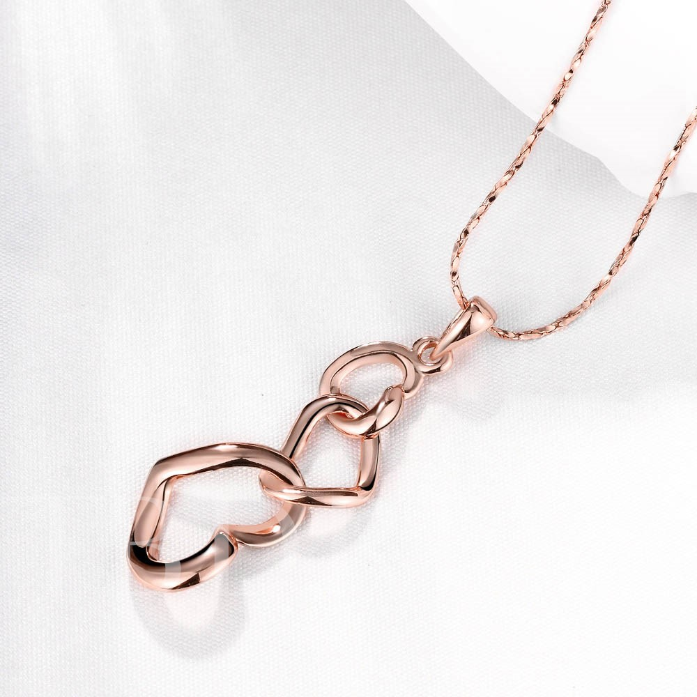 Three Rose Gold Heart Shaped Link Pendant Necklace