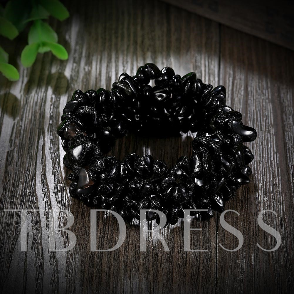Black Natural Stones Beading Adjustable Bracelet