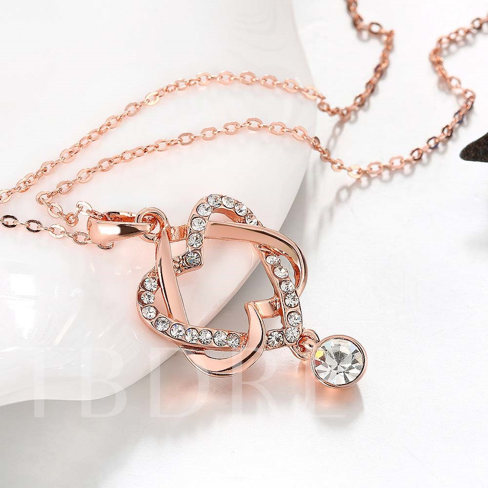 Hollow Double Heart-Shaped Diamante Necklace