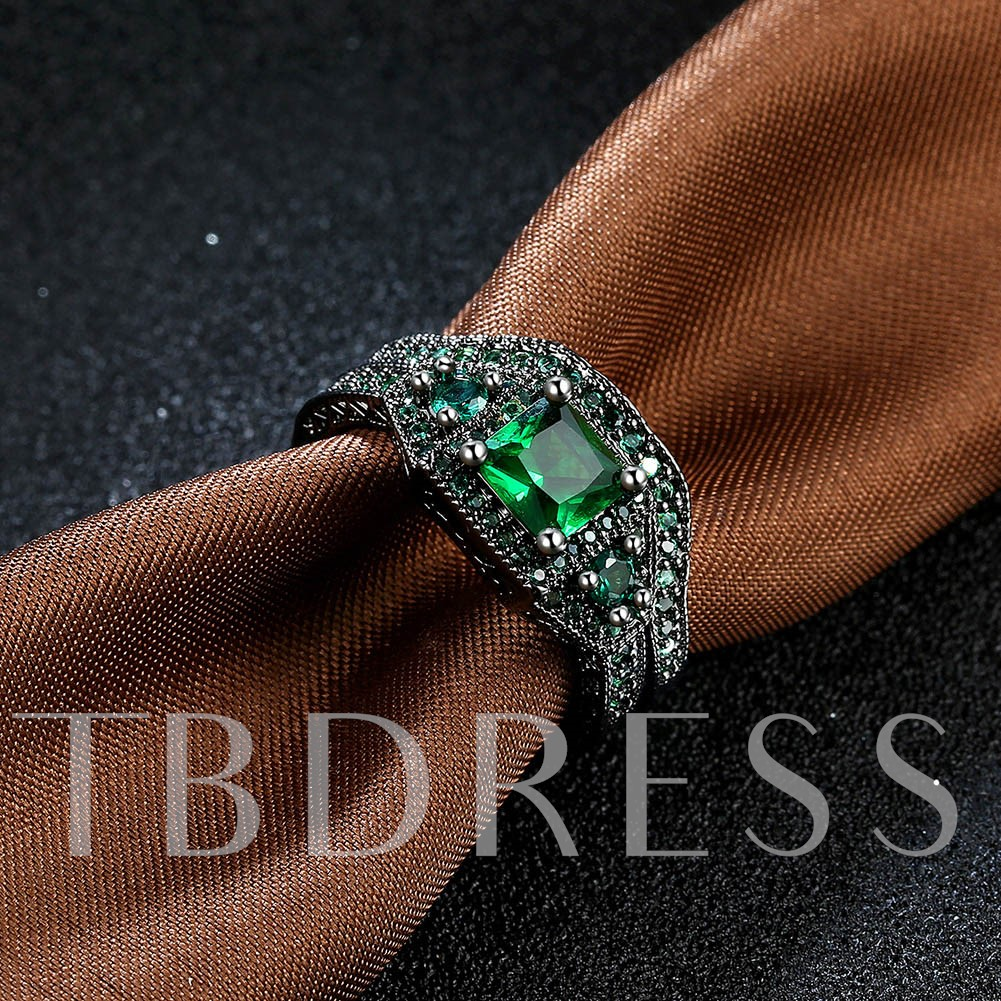 Green Zircon Inlaid Two Piece Black Ring
