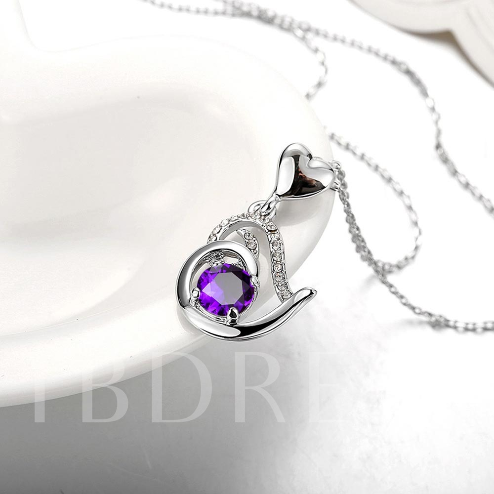 Ultra Violet Heart-Shaped Pendant Necklace