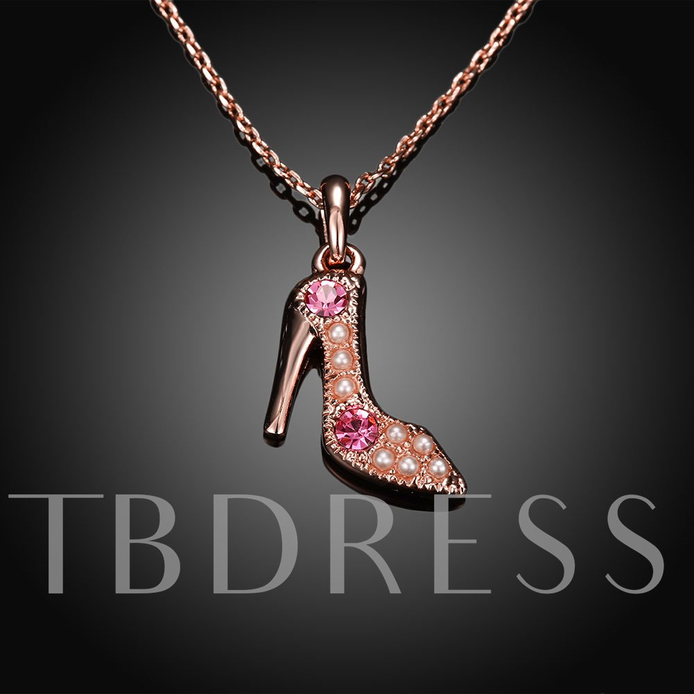 Chic Diamante High-Heeled Shoe Pendant Necklace
