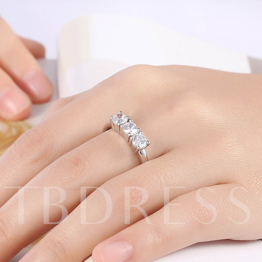 Three Zircon Inlaid Round Cut Women's Ring