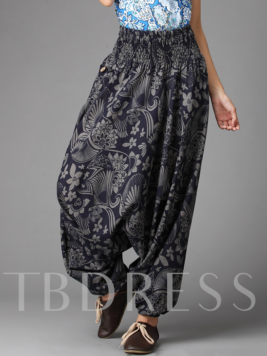 Buy Pleated Printing Full Length Loose Women's Pants, Fall, 12832092 for $25.99 in TBDress store