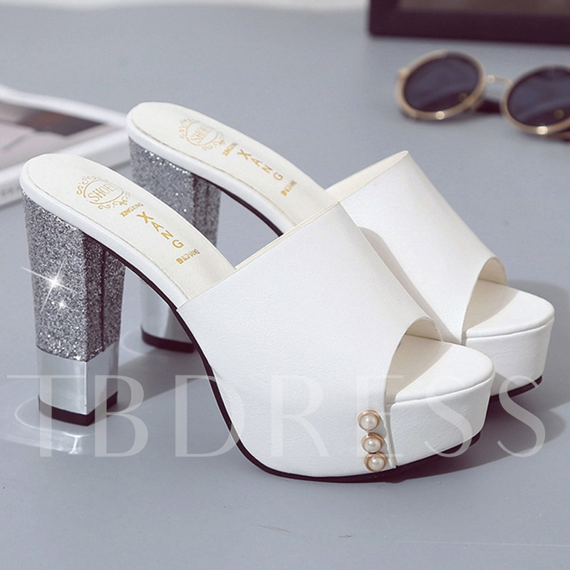 Open Toe Platform Block Heel Women's Slide Sandals
