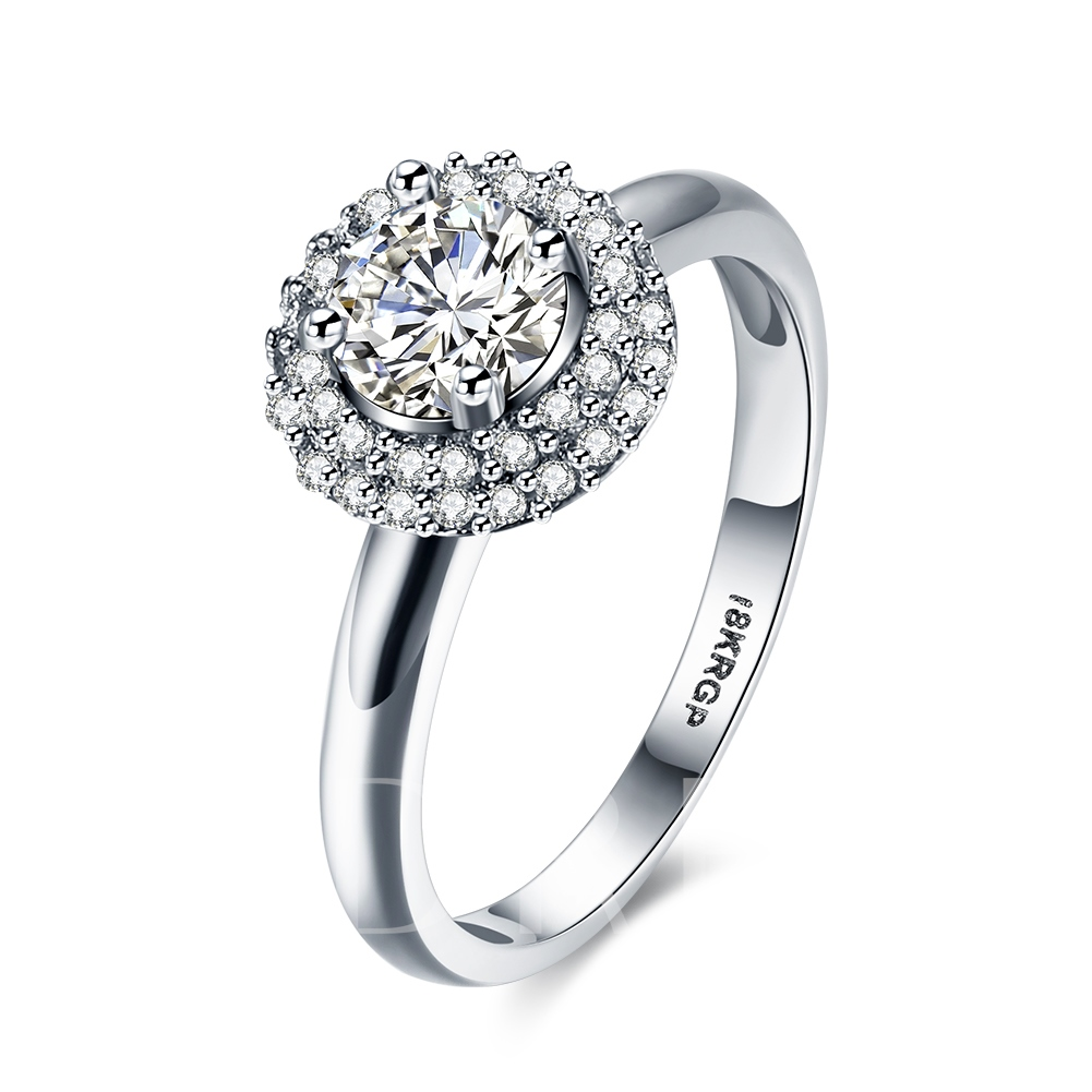 Simple Round Cut Zircon Ring for Women