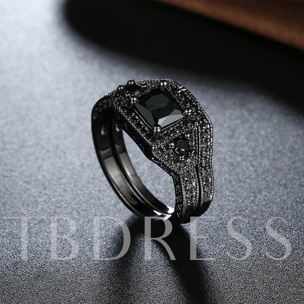 Unique Zircon Inlaid Black Ring