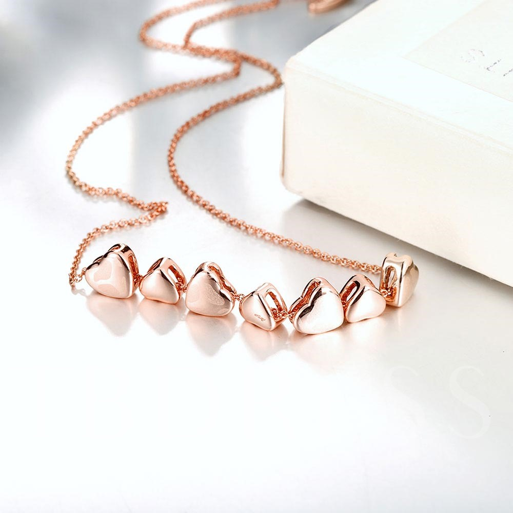 Rose Gold Plated Multiple Heart-Shaped Necklace