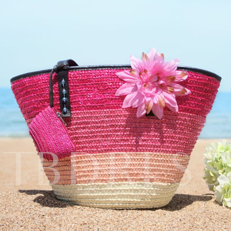 Contrast Color Stripes Flower Adornment Straw bag