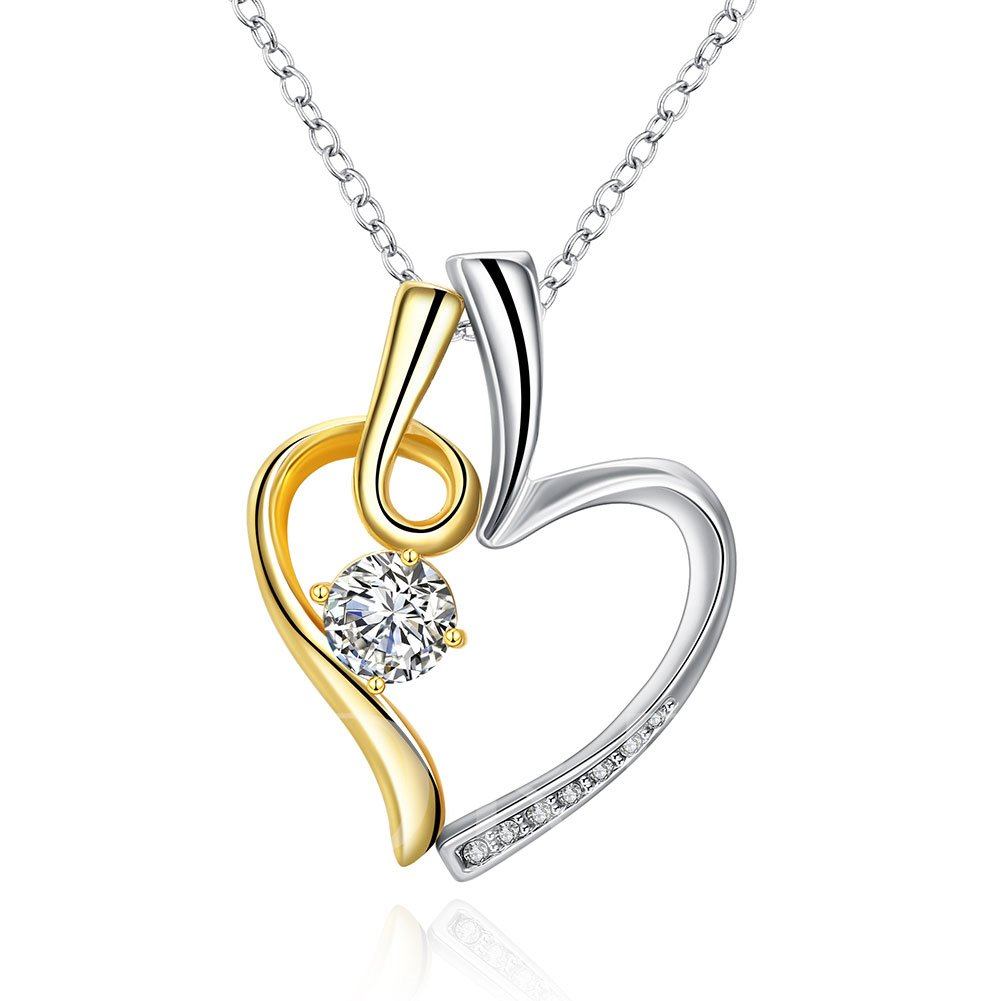 Concise Round Zircon Embellished Heart Necklace