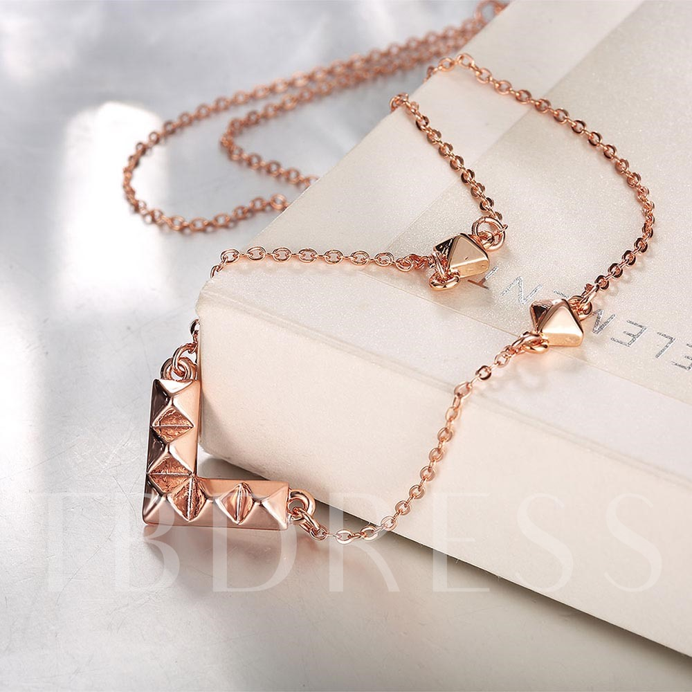 Rose Gold V-Shaped Design Pendant Necklace
