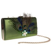 Retro Peacock Feather Adornment Evening Clutch