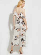 Backless Flower Print Vacation Wide Legs Patchwork Women's Jumpsuit