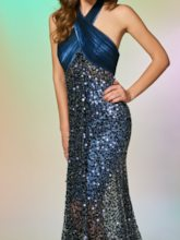 Halter Lace Sequins Trumpet Sleeves Floor-Length Prom Dress